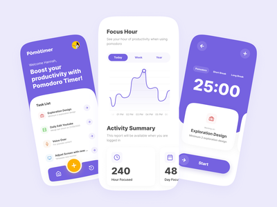 Pomotimer - Pomodoro Time Management App time management activity app activity pomodoro app pomodoro time tracking app violet purple ui clean app design mobile design uidesign mobile app mobile time tracking
