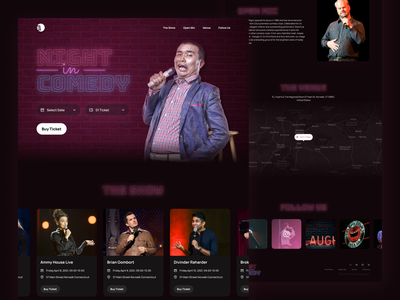Night in Comedy - Comedy Club Landing Page comedy landing page night club uidesign ui dark ui dark mode website designer website design website landing page comedy show comedy club stand up comedy open mic standup comedy