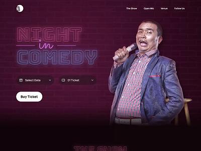 Night in Comedy - Comedy Club Landing Page comedy club dark mode animation website design website ui ux ui design night club comedy landing page