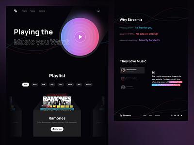 Streamiz - Music Streaming Landing Page playlist gradient design gradient website graident landing page dark landing page dark mode music streaming music website design webdesign animation