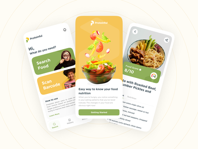 Proteinful - Nutrition Scanner App moble ui design app design food healthy food app diet app diet scan app scanner mobile design healthy app health app gym protein nutrition
