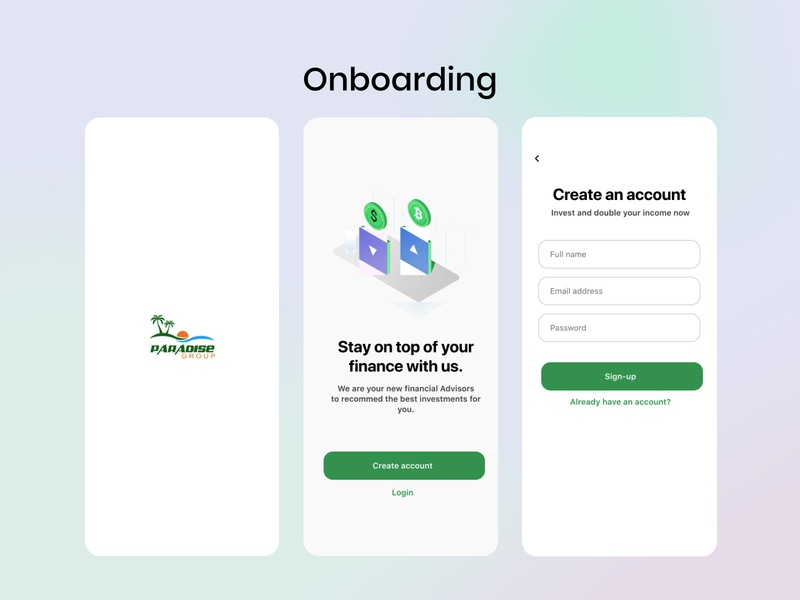 Onboarding , welcome screen , create account, login investment app money app ux webdesign product design userinterface app design minimal blurred background signup screen cuberto investment welcome screen onboarding screen login screen create account ui