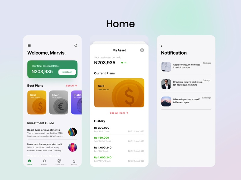Home screen , investment app, notification ui, investment rise assets ui designthinking product design uiux app design homepage blurred background menu icon search money history guides notifications investment app home screen