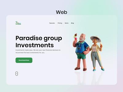 Paradadise group website userinterface minimal webdesign designthinking 3d illustraion product design webdesigner web website concept website design