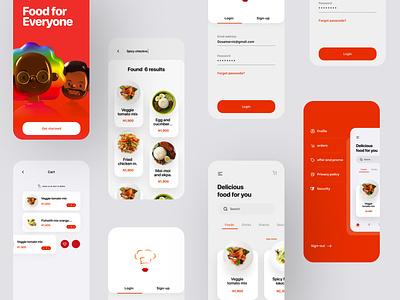 Bella Foods ui cart signup login apple menubar food color illustration webdesign userinterface minimal designthinking app design