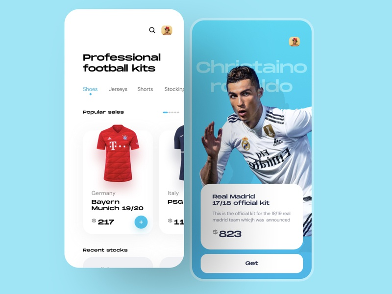 A football App design fantasy fireart cuberto clean ui minimal uiux illustration app design designthinking country colorful sell buy ecommerce jersey design footwear ronaldo football