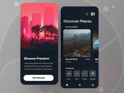 Travel tourism app ui emoji tourism dark mode design app design userinterface designthinking prototype template typography ui travel app
