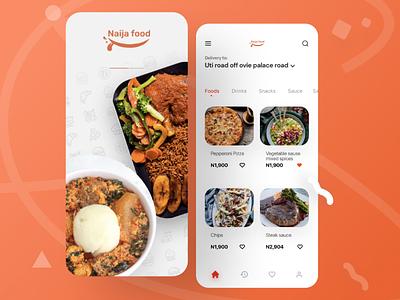 Food app Ui product. webdesign colorful simple orange ux ui app food