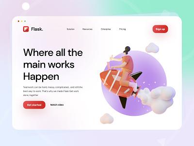 Flask Landing page website header webdesig colorfull webdesign 3d redesign concept userinterface landing page design designthinking uiux app design