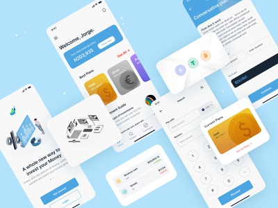 Investment App ui userexperience userinterface qclay crypto colorful investment blue minimal designthinking