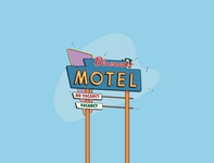 Bluewater Motel sign lights driving usa drawing colors hotel neon sign sign motel sign motel design vector illustration digital graphic design