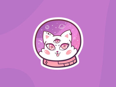Love in space astronaut sticker pink cat space love