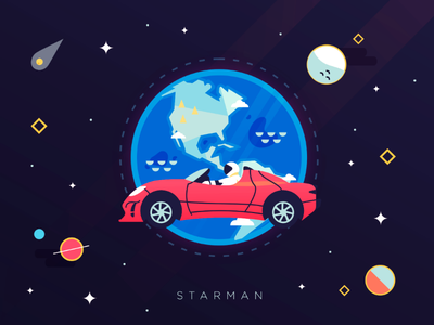 Starman vector earth astronaut roadster tesla car starman space