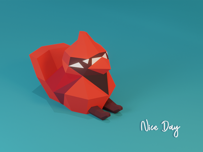 Chilling cute red blender 3d relax sit bird low poly lowpoly cardenal illustration
