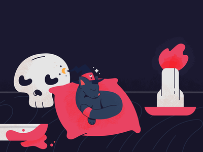 Waiting witchcraft sleeping sleep halloween candle skull witch vector cat