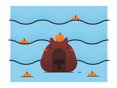 Capybara with mandarin orange on head bath blue water illustration head orange capybara