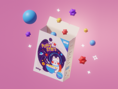 Puffy Stars package design package 3d blender 3d art design box cereal cute astronaut space vector cat illustration