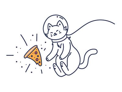Space Love illustration astronaut cat space pizza