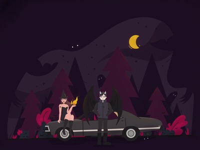 Nightcall car forest demon witch halloween night