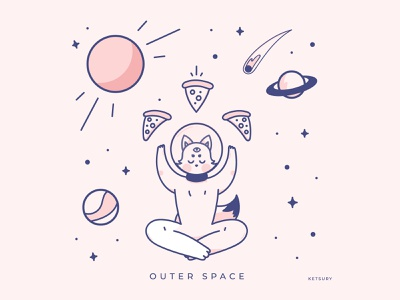 Outer space pink pizza outer space vector galaxy illustration cat space