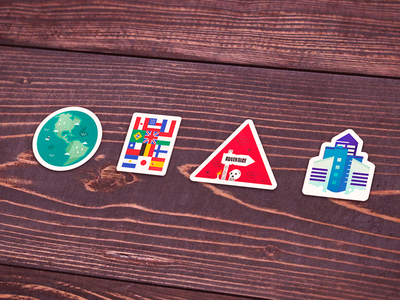 Some stickers earth flags adventure city vector sticker illustration