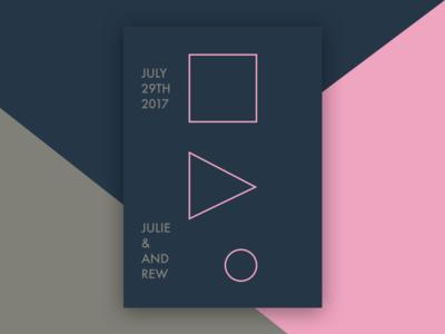 Wedding Invitations abstract shapes print wedding invitations