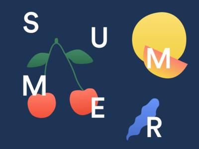 Summer! fun sun lemon cherry graphic summer