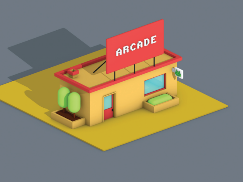 Lowpoly Gaming Parlour (view-2) top view parallel view parallel motion design lowpoly art lowpoly 3d graphic design game design cinema 4d arcade 3d lowpoly