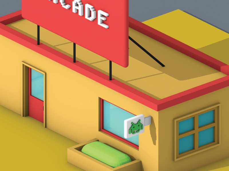 Lowpoly Gaming Parlour (view-3) top view parallel view parallel motion design lowpoly art lowpoly 3d lowpoly graphic design game design cinema 4d arcade 3d