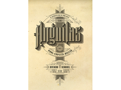 Bar Las Anguilas vintage typeface design draw letters poster logo identity illustration brand graphic design lettering typography