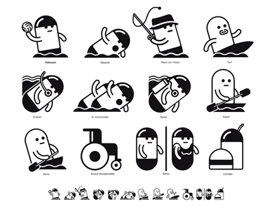 Watersports pictograms illustration graphic design watersports icons pictograms