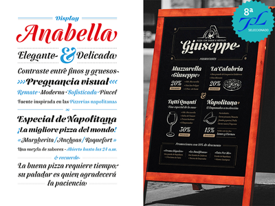 Anabella Font Display typeface pizzeria pizza calligraphy letters identity font display typography