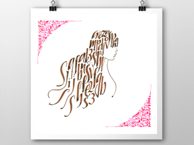 Calligraphic illustration handlettering letters texture woman draw letters poster illustration calligraphy