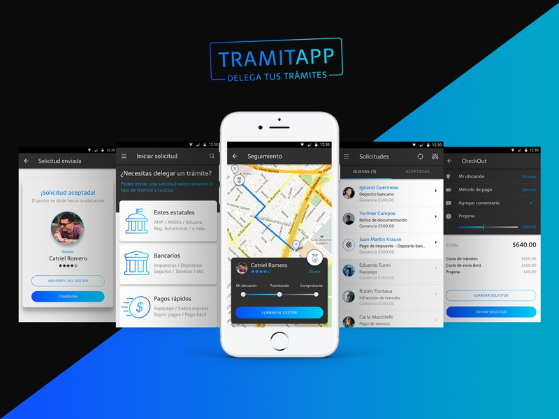 TramitApp ui kit product design gps bank icon ios android mobile app app ux kit ui