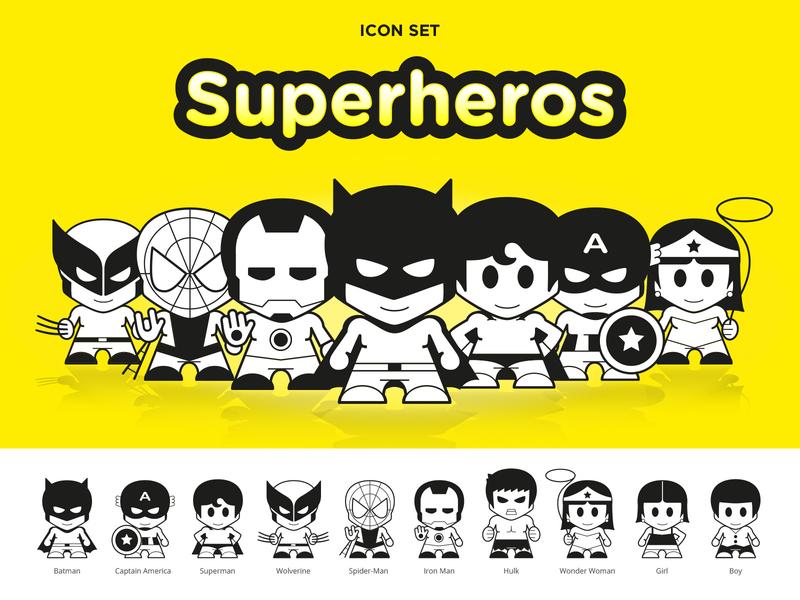 Superhero Icons pictograms icons flat icon dc comics hulk wonder woman captain america spider man iron man wolverine batman superman vector superheros marvel icon set superhero comics illustration