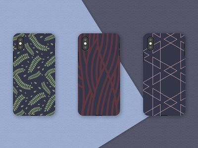 Phone Cases iphone case navy blue patterns pattern design phone case phone leafs leaf geometic waves vector art colors color illustration pattern vector design