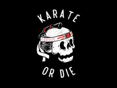 Karate Or Die clothing simple tattoo cartoon illustration t-shirt design sport t-shirt japan skull karate