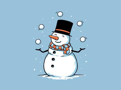 Juggling Snowman t-shirt design holiday t-shirt tshirts clothing winter funny fun illustration cartoon christmas xmas circus snow snowman
