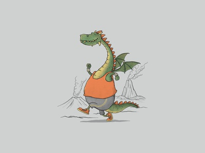 Morning Run illustrator mountain t-shirt design animals cute animal drawing illustration t-shirt clothing funny cartoon run sport dragon