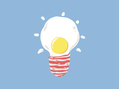 Breakfast Is A Bright Idea ideas idea lamp bulb sky sun morning summer happy bacon egg breakfast foods drawing design clothing funny t-shirt t-shirt design illustration