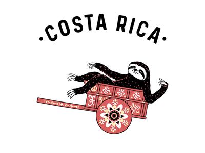 Costa Rica Coffee Bags hand drawn brewing coffee sloth clothing artwork design t-shirt t-shirt design animals illustrator cartoon drawing illustration