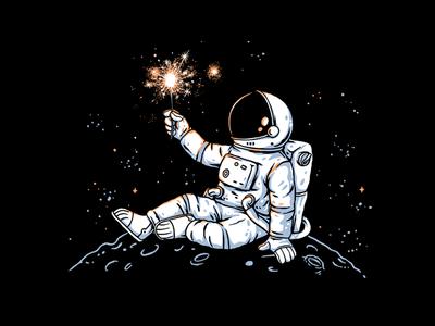 Fireworks drawing moon stars spaceman space astronaut artwork funny clothing cartoon t-shirt t-shirt design illustration