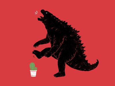 godzill-Aww plants flower cactus movie parody kaiju godzilla fun artwork design animal animals illustrator funny cartoon drawing clothing t-shirt t-shirt design illustration