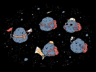 Astouroids photography tourist tour space asteroid happy fun design logo tshirt artwork cute drawing clothing funny illustrator cartoon t-shirt t-shirt design illustration