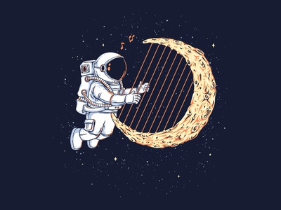 Space Melody cartoons t-shirt illustration illustrator fun drawing artwork design clothing cartoon t-shirt design music player geek sci-fi funny music astronaut space tshirt t-shirt illustration