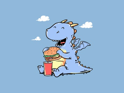 Dragon Meal kids triagus cute foods hamburger dinosaur artwork animals design illustrator cartoon funny clothing drawing t-shirt design illustration t-shirt