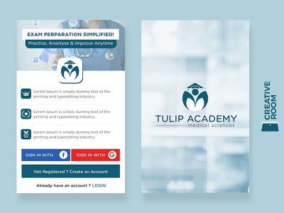 Tulip Academy App live students ios android mobile creative doctor medical typography ux ui flat idenity brand vector design app