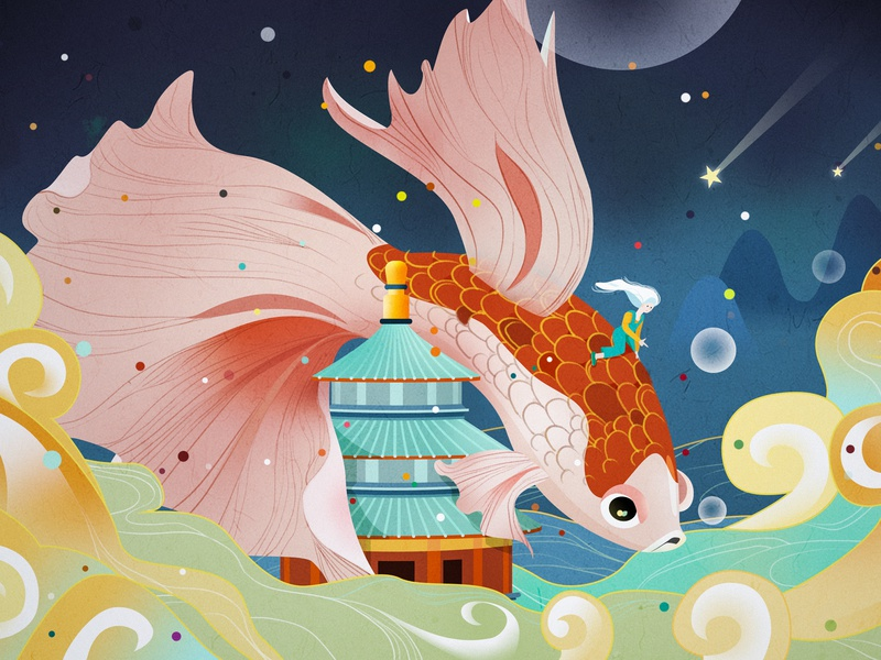 a lucky koi cloud fish red and blue wallpaper design illustration