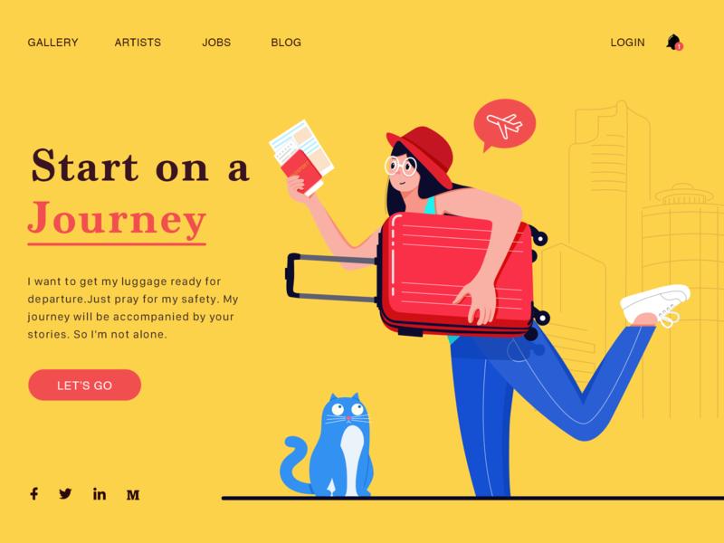 Go a trip,just go! illustrator website design type branding character art ui illustration web typography flat vector