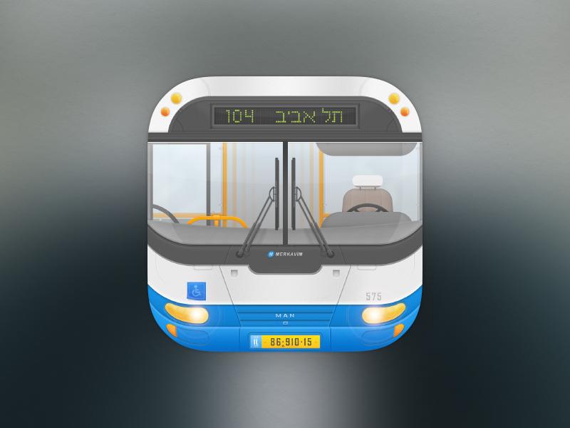 City bus city israel bus dan icon ios color 7 blue grey tel aviv